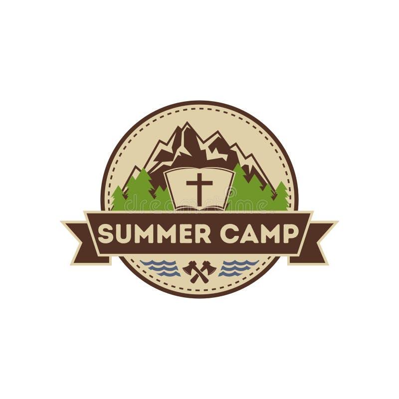 Camp de chrétien d'été de logo illustration stock