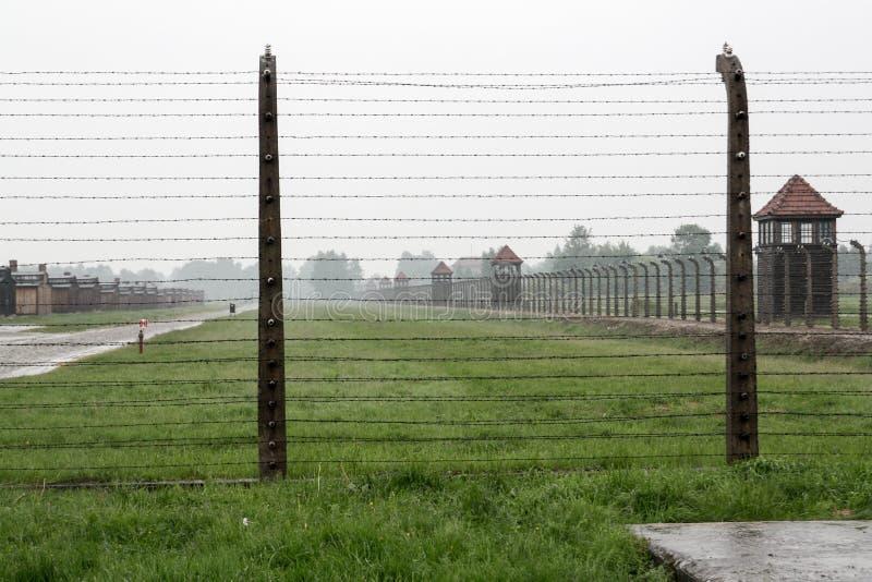 Camp de concentration Birkenau avec l'herbe verte sous la pluie, Oswiencim Pologne image libre de droits