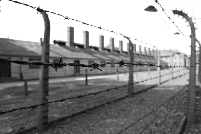 Camp de concentration d'Auschwitz, Allemagne - prison et barrière de barbelé - sur 15 06 2017 images libres de droits