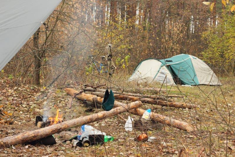 Camp de touristes images stock