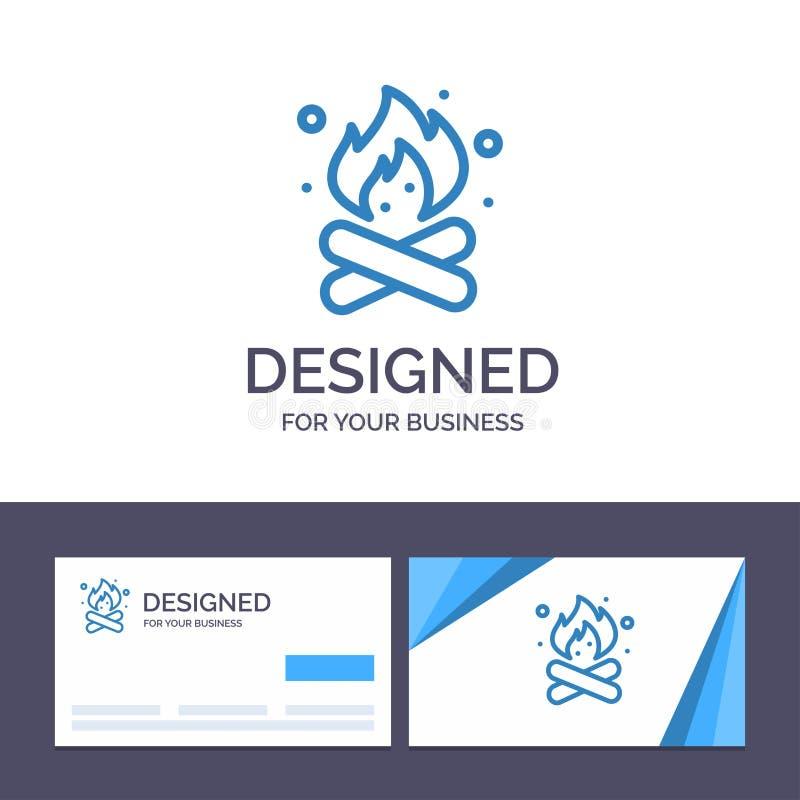 Camp de visite de calibre créatif de carte de visite professionnelle et de logo, camping, le feu, chaud, illustration de vecteur  illustration de vecteur