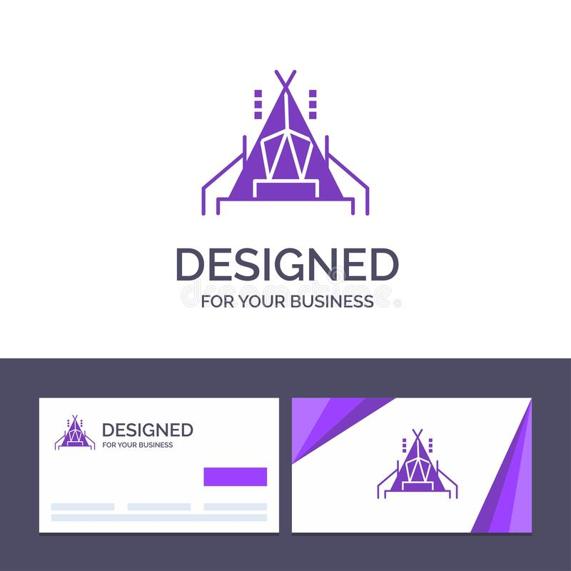 Camp de visite de calibre créatif de carte de visite professionnelle et de logo, tente, illustration campante de vecteur illustration stock