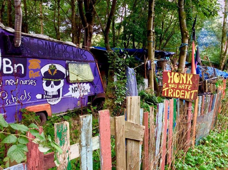 Camp Ecosse de paix de Faslane photos stock