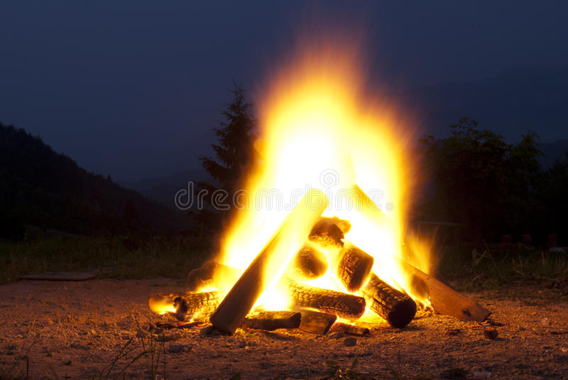 Camp fire. With spectacular moutain view stock photography