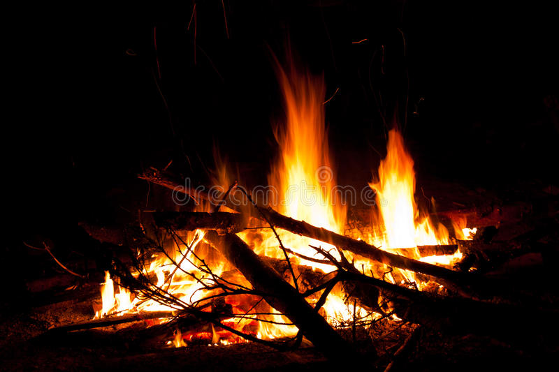 Camp fire at night stock image