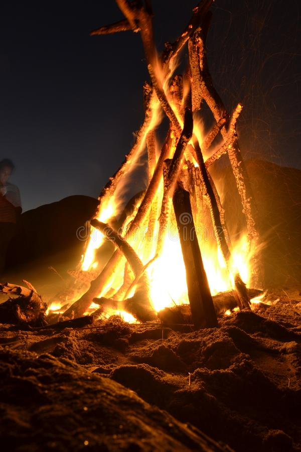 Camp fire on the beach at night royalty free stock image