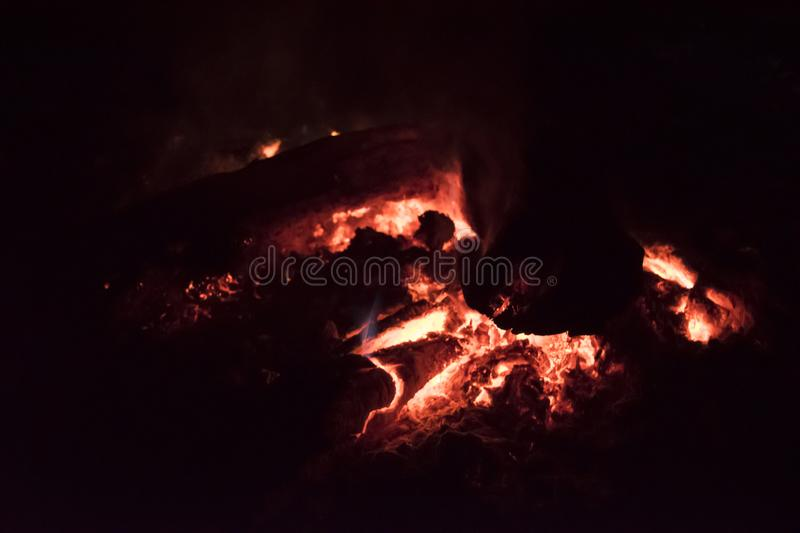 Camp fire , bonfire burning in dark stock images