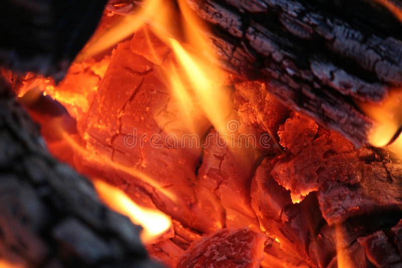 Camp Fire Close Up. Close Up of Glowing Red Camp Fire stock photos
