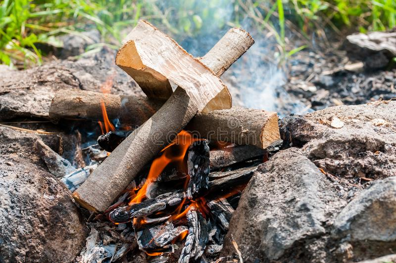 Camp fire close up shot on natural bright light royalty free stock photos