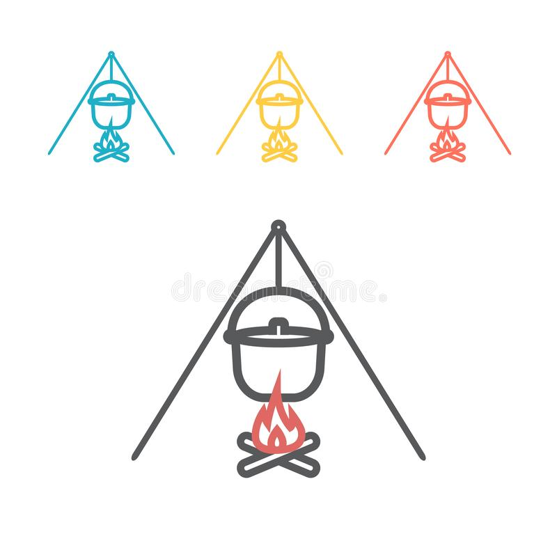 Camp fire with pot. Line icon. Vector signs for web graphics. vector illustration