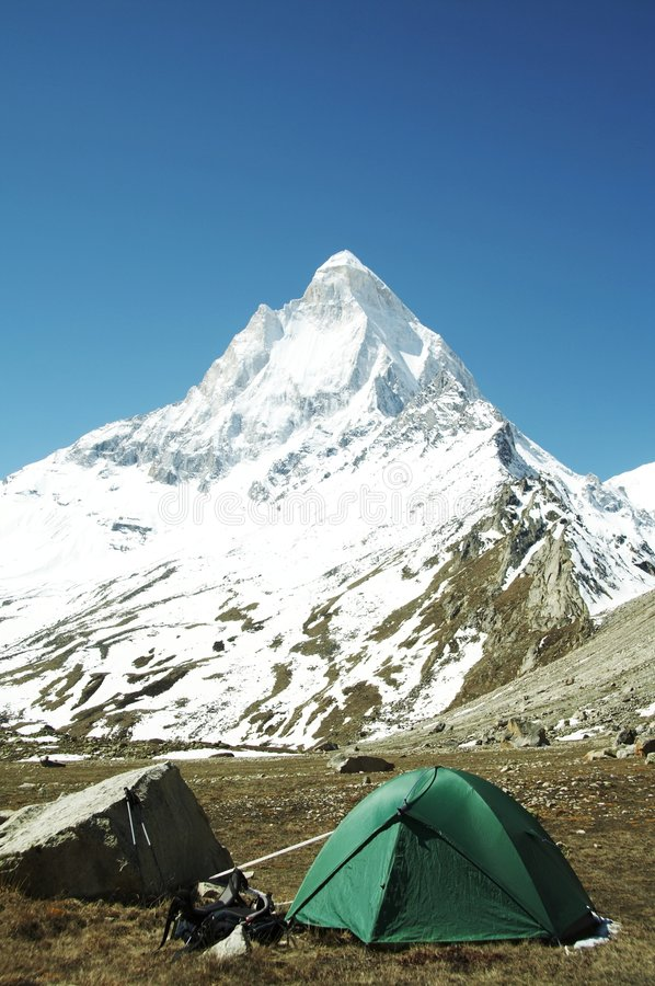 Camp in Himalayan mountain stock images