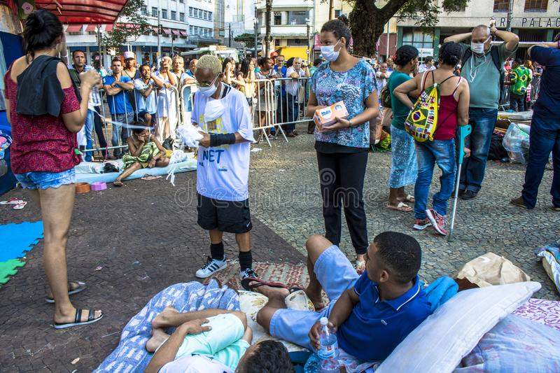 Camp of homeless family in paissandu Square. Sao Paulo, SP, Brazil, May 04, 2018. The camp of families occupying a building that collapsed due to a large fire in royalty free stock images