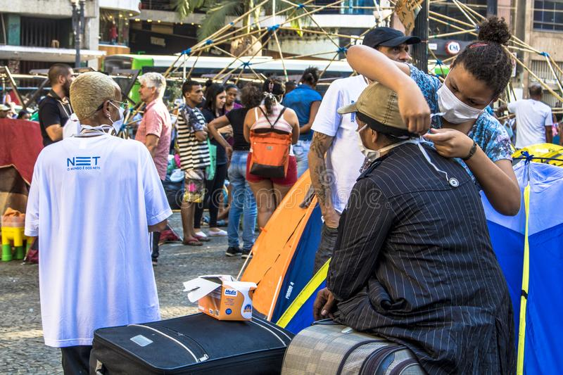 Camp of homeless family. Sao Paulo, SP, Brazil, May 04, 2018. The camp of families occupying a building that collapsed due to a large fire in Paissandu Square royalty free stock photos