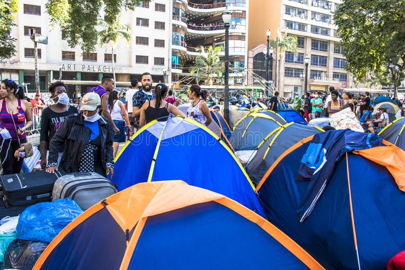 Camp of homeless family. Sao Paulo, SP, Brazil, May 04, 2018. The camp of families occupying a building that collapsed due to a large fire in Paissandu Square stock photo