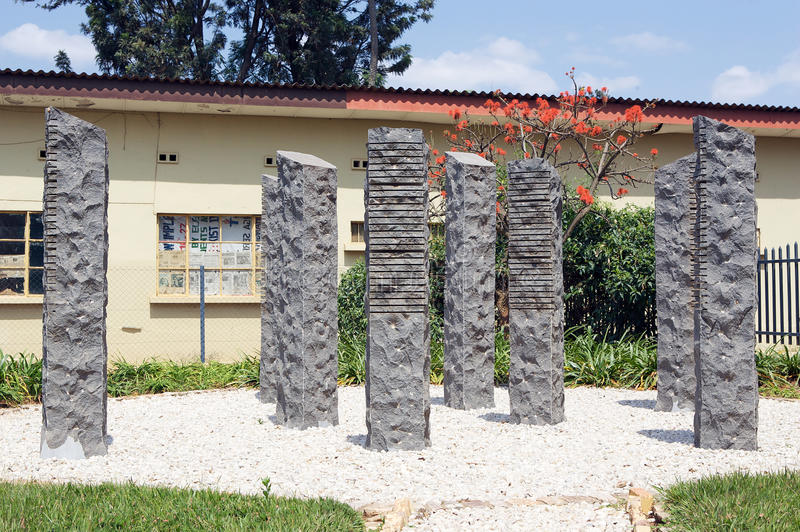 Camp Kigali memorial. Each stone represent one belgian soldier killed. Camp Kigali, Rwanda,is situated at Avenue de l'Armée. Today, the Camp is a Belgian royalty free stock photo