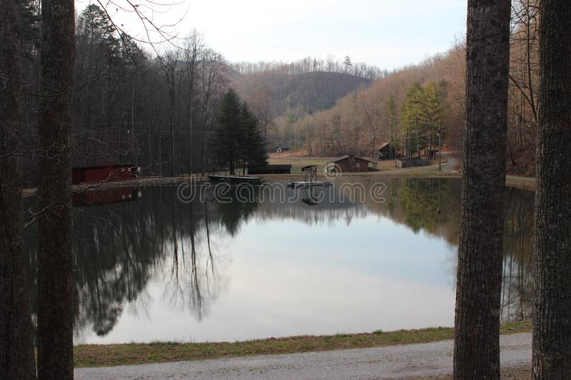 Camp in North Carolina Foothills. This is a picture of Camp McCall located in the foothills of North Carolina stock photos
