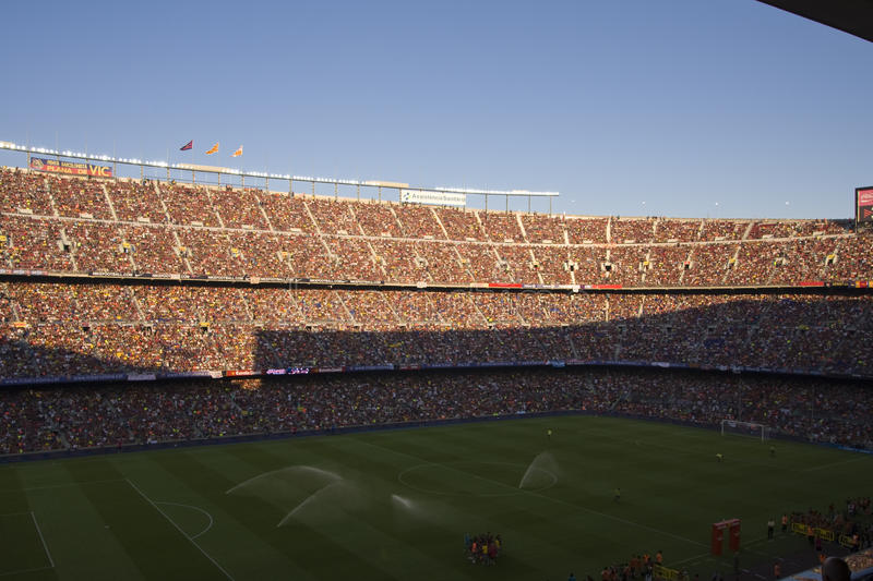 Camp Nou football supporters stock photography