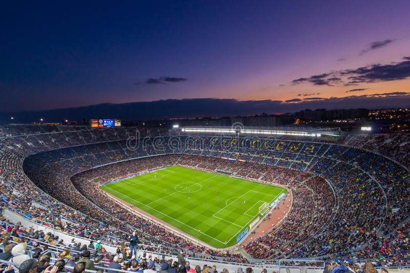 Camp Nou at sunset stock images