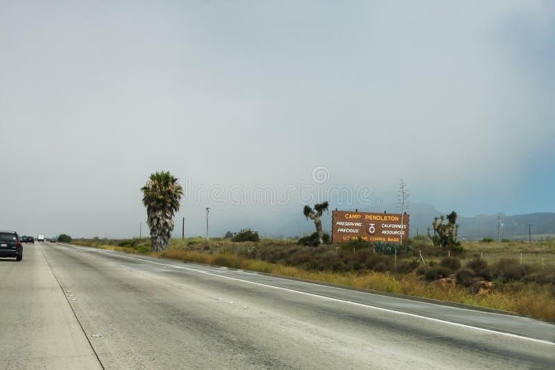 Camp Pendleton sign in California. US Marine Corps base, Camp Pendleton, sign by the highway in California stock photos