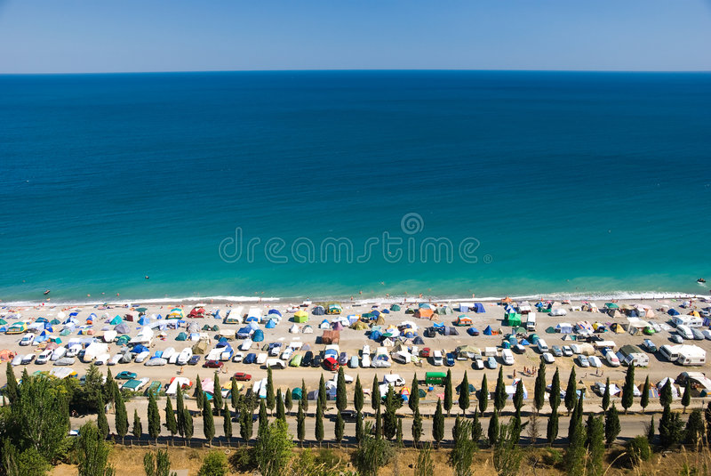 Camp on the sea coast. Top view stock photos