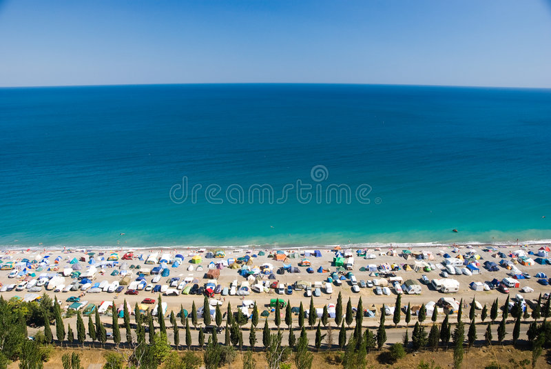 Camp on the sea coast. Top view stock image
