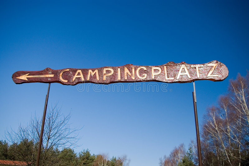 Download Camp sign in German. stock photo. Image of direction, advertisement - 2154868