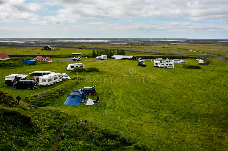 Camp site near Gljufrabui waterfall & x28;Iceland& x29; hidden in cave royalty free stock images