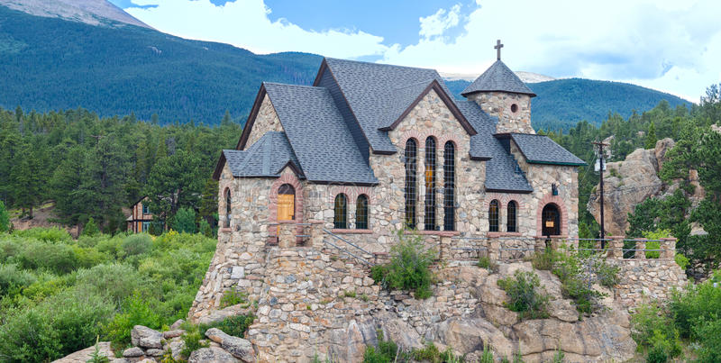 Camp St Malo Panorama. The Chapel on the Rock is a tourist landmark in Allenspark, Colorado, USA. The chapel is located on the grounds of the Saint Malo Retreat stock image