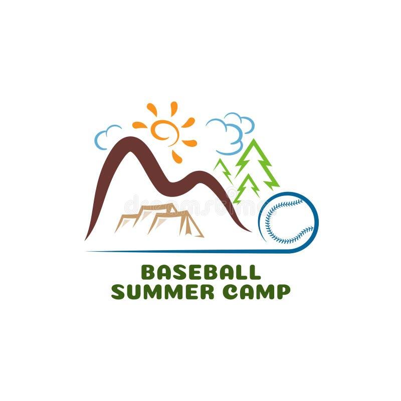 Camp summar de base-ball de logo Logo de bande dessinée d'amusement illustration de vecteur