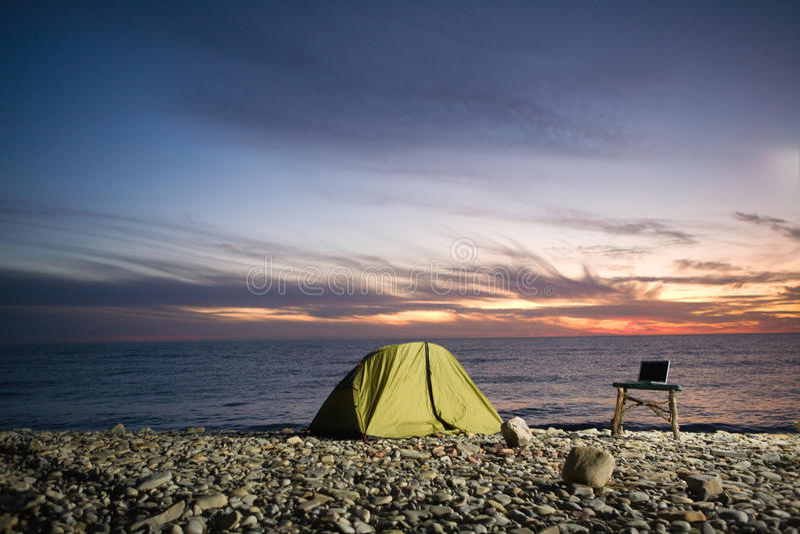Camp At Sunset Stock Photos