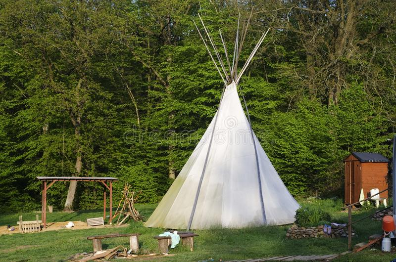 Camp with teepee royalty free stock images