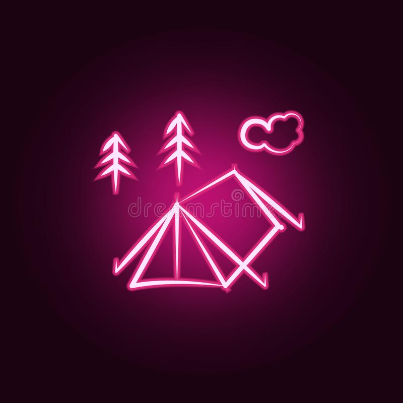 Camp tent neon icon. Elements of travel set. Simple icon for websites, web design, mobile app, info graphics. On dark gradient background royalty free illustration