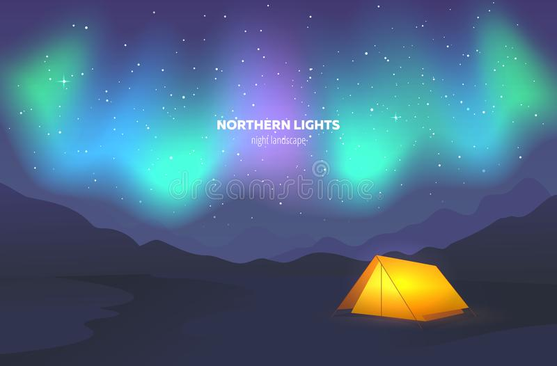 Camp tent under night sky. Landscape with beautiful northern lights. Vector illustration. Camp tent under night sky. Landscape with beautiful northern lights stock illustration