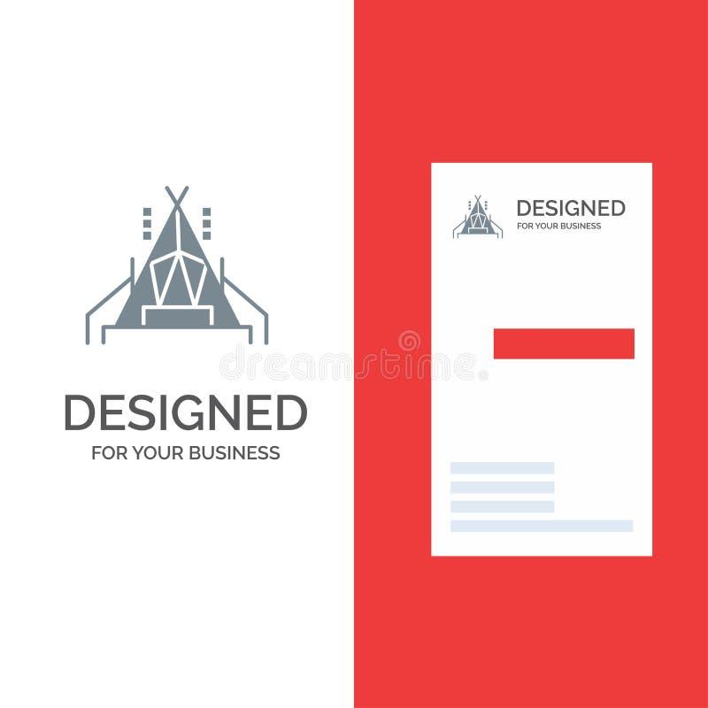 Camp, tente, camping Grey Logo Design et calibre de carte de visite professionnelle de visite illustration libre de droits
