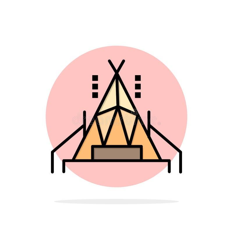 Camp, tente, icône plate campante de couleur de fond abstrait de cercle illustration libre de droits