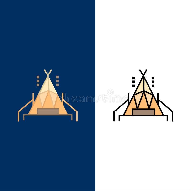 Camp, tente, icônes campantes L'appartement et la ligne icône remplie ont placé le fond bleu de vecteur illustration de vecteur
