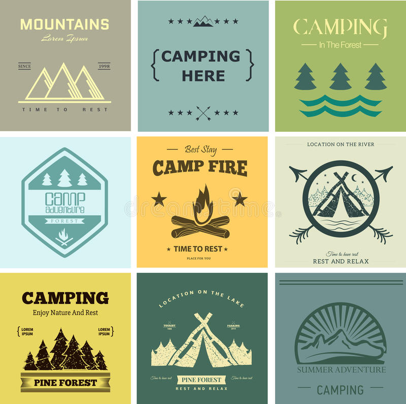 Camp vector label stock illustration
