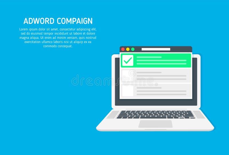 Campaña de Adword, márketing de la búsqueda, bandera de la publicidad del PPC con los iconos y textos Concepto del vector con el  ilustración del vector