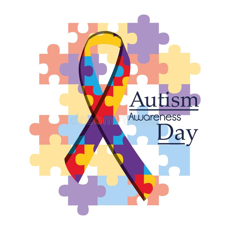 Campaña de la organización internacional del día de la conciencia del autismo ilustración del vector