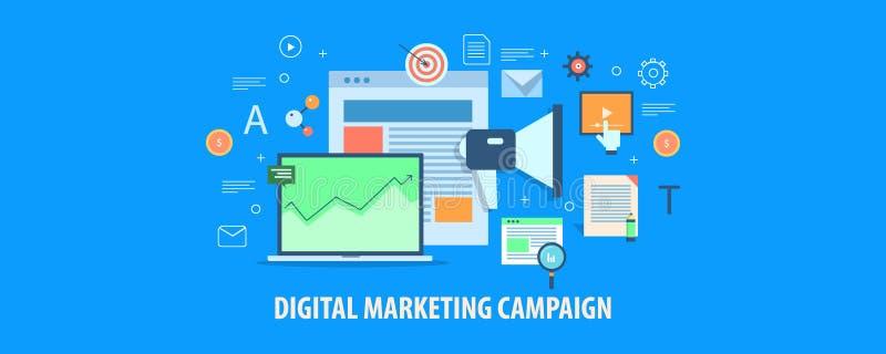 Campaña de marketing de Digitaces, publicidad online, medios márketing social, concepto digital del analytics Bandera plana del v libre illustration