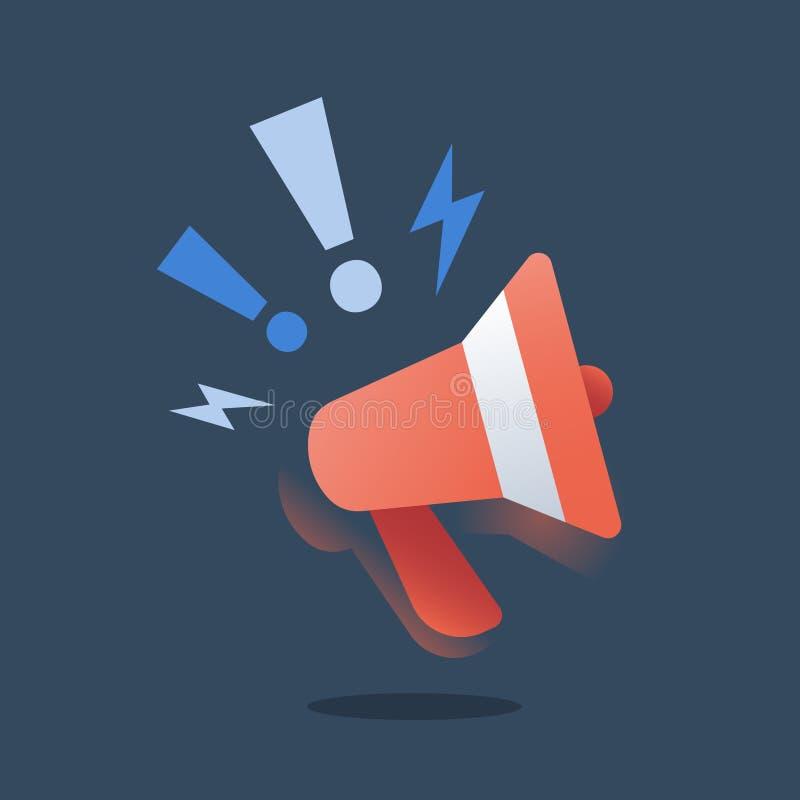Campaña de promoción, márketing el extranjero, estrategia del smm, concepto de la publicidad, relaciones públicas, megáfono rojo, stock de ilustración