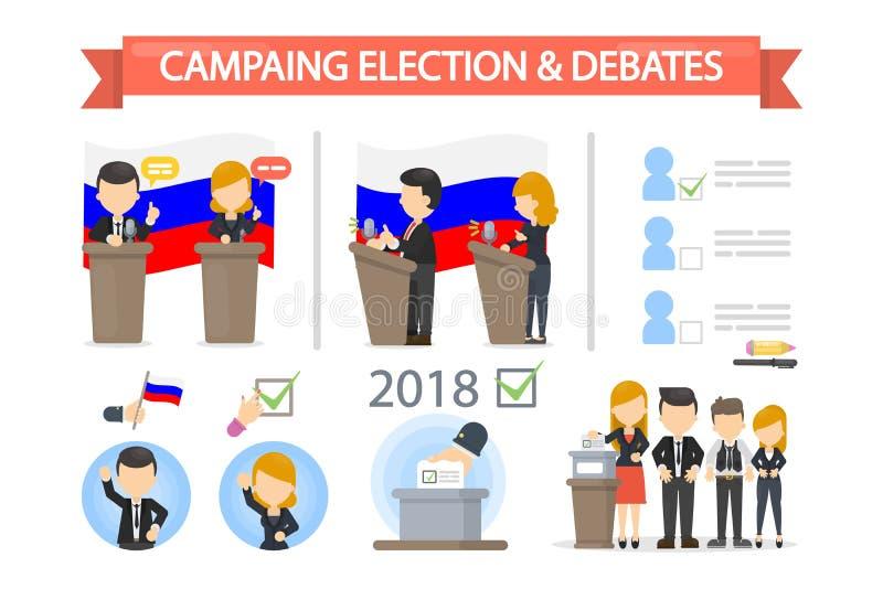Campaña electoral y discusiones de  ilustración del vector