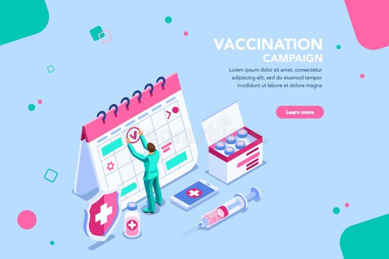Campaña para el virus vaccíneo de la emergencia del día de la vacunación ilustración del vector