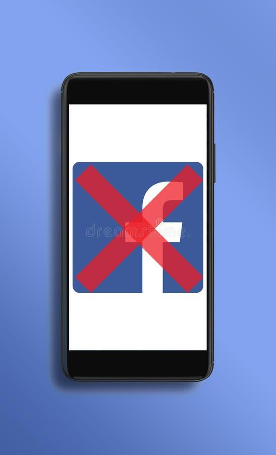 Campaña social para suprimir las cuentas de Facebook foto de archivo