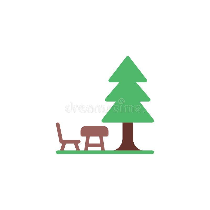 Campa bänk med tabellen under den plana symbolen för träd stock illustrationer