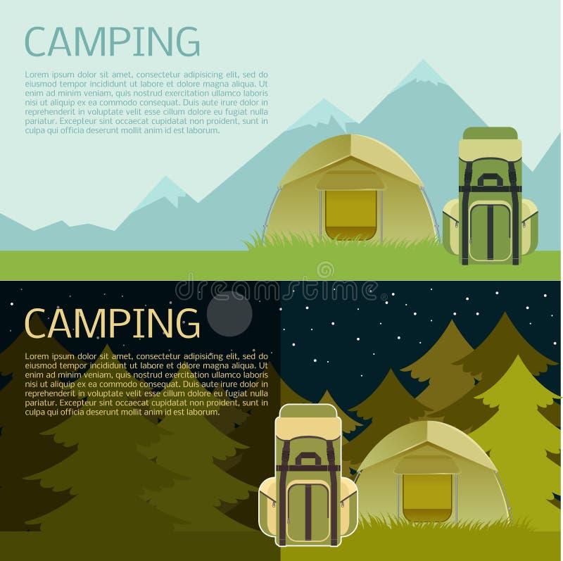Campa baner stock illustrationer