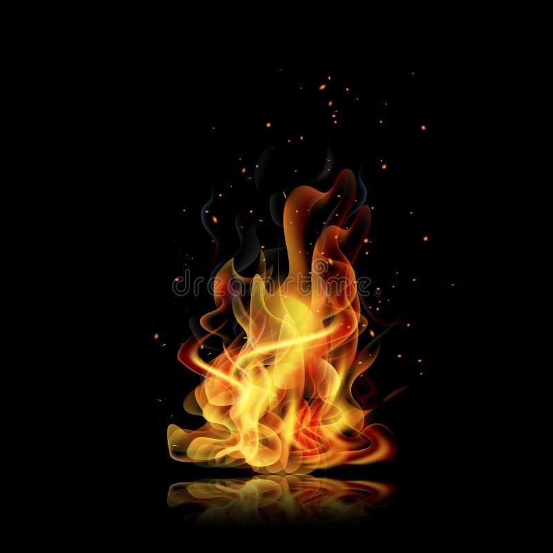 campa brandflammaskog Svart bakgrund Realistisk brand vektor vektor illustrationer