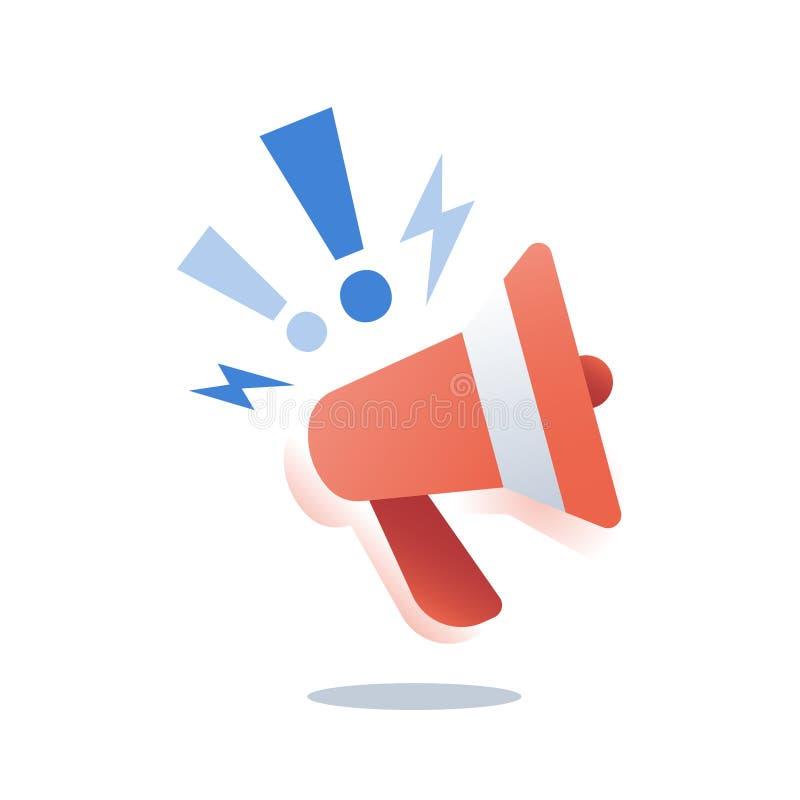 Campa?a de promoci?n, m?rketing el extranjero, estrategia del smm, concepto de la publicidad, relaciones p?blicas, meg?fono rojo, libre illustration