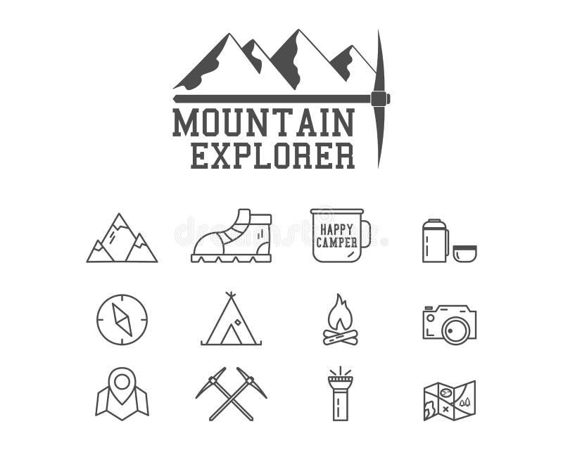Campa emblem för bergutforskareläger, logo royaltyfri illustrationer