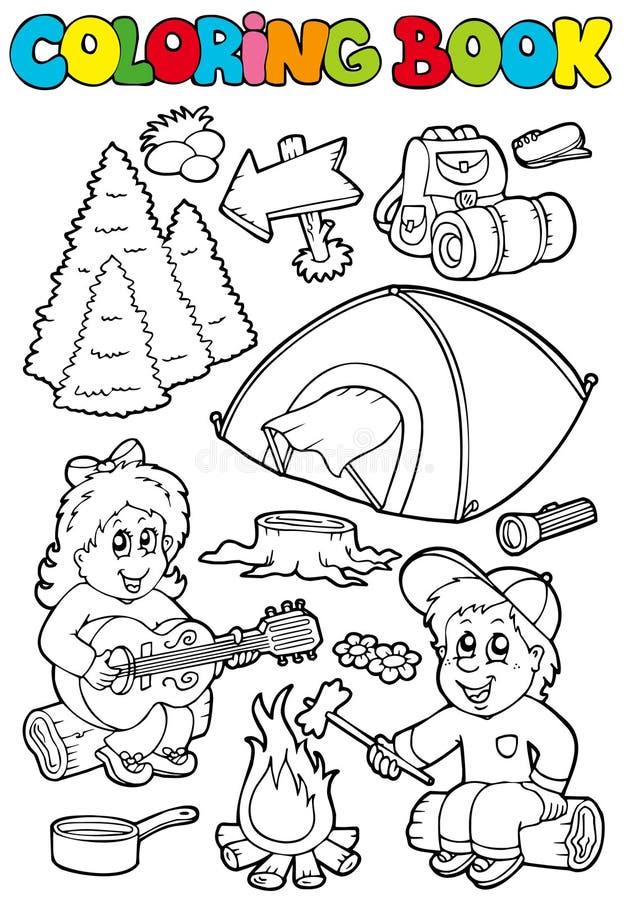campa färgläggningtema för bok royaltyfri illustrationer